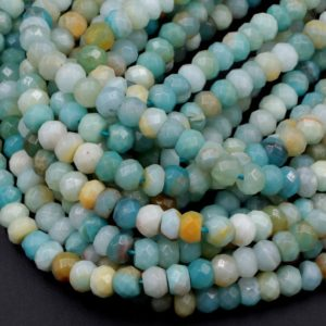 "Shop Amazonite Faceted Beads! Natural Amazonite Faceted Rondelle Beads 8mm 10mm High Quality Faceted Multi Color Amazonite Blue Green Yellow Gemstone 16"" Strand 