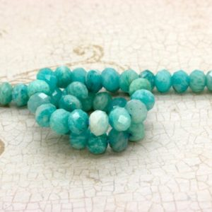 Shop Amazonite Faceted Beads! Natural Amazonite, Amazonite Faceted Rondelle Loose Natural Loose Gemstone Beads Stone | Natural genuine faceted Amazonite beads for beading and jewelry making.  #jewelry #beads #beadedjewelry #diyjewelry #jewelrymaking #beadstore #beading #affiliate #ad