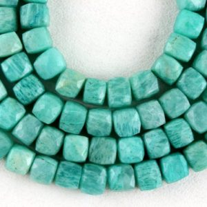 "Shop Amazonite Bead Shapes! 8"" Long 1 Strand Natural Amazonite Gemstone, Faceted Cube Shape Beads,Size 7-8 MM AAA Quality Briolette Beads,Making Jewelry Wholesale Price 