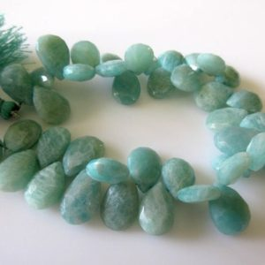 Shop Amazonite Bead Shapes! Faceted Blue Green Amazonite Pear Shaped Briolette Beads, Natural Amazonite Gemstone Beads, 14mm To 12mm Beads, 7.5 Inch Strand, GDS722 | Natural genuine other-shape Amazonite beads for beading and jewelry making.  #jewelry #beads #beadedjewelry #diyjewelry #jewelrymaking #beadstore #beading #affiliate #ad