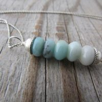 Amazonite Necklace, Small, Simple, Blue Amazonite, Stacked Gemstone Pendant | Natural genuine Gemstone jewelry. Buy crystal jewelry, handmade handcrafted artisan jewelry for women.  Unique handmade gift ideas. #jewelry #beadedjewelry #beadedjewelry #gift #shopping #handmadejewelry #fashion #style #product #jewelry #affiliate #ad