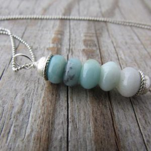 Shop Amazonite Pendants! Amazonite Necklace, small, simple, blue amazonite, stacked gemstone pendant | Natural genuine Amazonite pendants. Buy crystal jewelry, handmade handcrafted artisan jewelry for women.  Unique handmade gift ideas. #jewelry #beadedpendants #beadedjewelry #gift #shopping #handmadejewelry #fashion #style #product #pendants #affiliate #ad