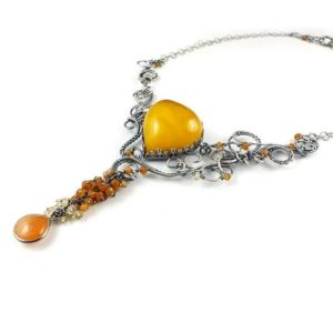 Luxury wire wrapped necklace, amber jewelry, gemstone fine jewelry, statement necklace | Natural genuine Gemstone necklaces. Buy crystal jewelry, handmade handcrafted artisan jewelry for women.  Unique handmade gift ideas. #jewelry #beadednecklaces #beadedjewelry #gift #shopping #handmadejewelry #fashion #style #product #necklaces #affiliate #ad