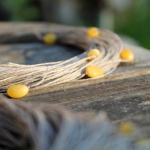 Shop Amber Jewelry! Organic Linen Necklace with Yellow Baltic Amber Natural Raw Multi Strand Rustic Eco Wedding Jewelry Earthy Colors Ecologic Fiber Mellow | Natural genuine Amber jewelry. Buy handcrafted artisan wedding jewelry.  Unique handmade bridal jewelry gift ideas. #jewelry #beadedjewelry #gift #crystaljewelry #shopping #handmadejewelry #wedding #bridal #jewelry #affiliate #ad
