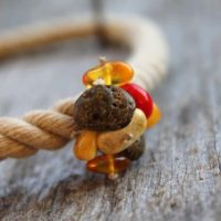 Sailor Rope Necklace Summer Fashion Jewery Amber Red Coral Pendant Gray Linen Brown Earthy Yellow Nautical Gift For Her | Natural genuine Gemstone jewelry. Buy crystal jewelry, handmade handcrafted artisan jewelry for women.  Unique handmade gift ideas. #jewelry #beadedjewelry #beadedjewelry #gift #shopping #handmadejewelry #fashion #style #product #jewelry #affiliate #ad