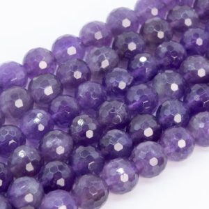 Genuine Natural Amethyst Loose Beads Grade A Micro Faceted Round Shape 6mm 8mm 10mm | Natural genuine faceted Amethyst beads for beading and jewelry making.  #jewelry #beads #beadedjewelry #diyjewelry #jewelrymaking #beadstore #beading #affiliate #ad