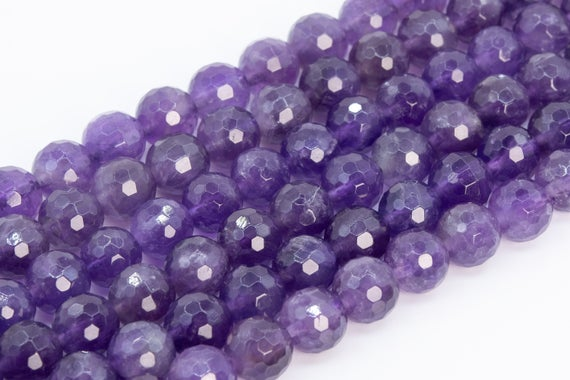 Genuine Natural Amethyst Loose Beads Grade A Micro Faceted Round Shape 6mm 8mm 10mm