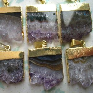 Sale .. 1 5 10 pcs, STALACTITE Slice Amethyst Slice Druzy Pendant Charms, 24k Gold Electroplated Amethyst Slice, ap ap41.6.t | Natural genuine beads Gemstone beads for beading and jewelry making.  #jewelry #beads #beadedjewelry #diyjewelry #jewelrymaking #beadstore #beading #affiliate #ad