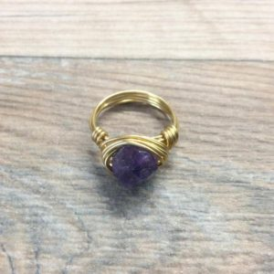 Amethyst ring – 14k gold filled or Sterling silver faceted wire wrapped gemstone ring | Natural genuine Gemstone rings, simple unique handcrafted gemstone rings. #rings #jewelry #shopping #gift #handmade #fashion #style #affiliate #ad