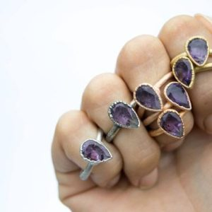 Shop Amethyst Rings! Faceted amethyst ring | Amethyst statement ring | February Birthstone ring | February Birthstone jewelry | Amethyst birthstone jewelry | Natural genuine Amethyst rings, simple unique handcrafted gemstone rings. #rings #jewelry #shopping #gift #handmade #fashion #style #affiliate #ad