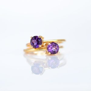 Shop Unique Amethyst Engagement Rings! Amethyst Ring, Gold Ring, February Birthstone Ring, Purple Amethyst Gemstone Ring, Amethyst Dainty Ring, Promise Ring, Stacking Ring | Natural genuine Amethyst rings, simple unique handcrafted gemstone rings. #rings #jewelry #shopping #gift #handmade #fashion #style #affiliate #ad