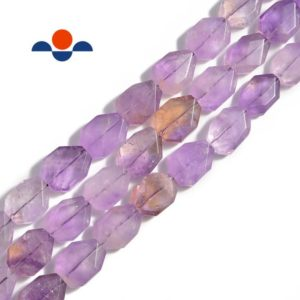 "Shop Ametrine Beads! Natural Ametrine Rectangle Twist Faceted Octagon Beads 15x20mm 15.5"" Strand 