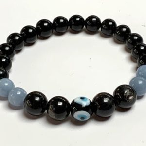 Shop Apache Tears Jewelry! Angelite, Apache tears, Evil eye, Tourmaline Mala Beads Bracelet, Grief, Loss, Emotional Support Bracelet, Bereavement Bracelet, Grief Affir | Natural genuine Apache Tears jewelry. Buy crystal jewelry, handmade handcrafted artisan jewelry for women.  Unique handmade gift ideas. #jewelry #beadedjewelry #beadedjewelry #gift #shopping #handmadejewelry #fashion #style #product #jewelry #affiliate #ad