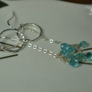Shop Apatite Earrings! Long Blue Apatite Earrings in Sterling Silver // Carribean Blue Apatite // Apatite Briolette Earrings // Something Blue // Summer Earrings | Natural genuine Apatite earrings. Buy crystal jewelry, handmade handcrafted artisan jewelry for women.  Unique handmade gift ideas. #jewelry #beadedearrings #beadedjewelry #gift #shopping #handmadejewelry #fashion #style #product #earrings #affiliate #ad
