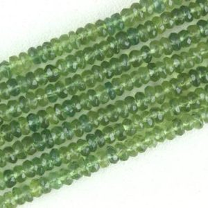"""Shop Apatite Faceted Beads! Best Quality 12.5"""" Green Apatite Rondelle Beads,Micro Faceted Rondelle Beads, 4 MM Beads,Apatite Gemstone, Faceted Rondelle Beads,Wholesale 