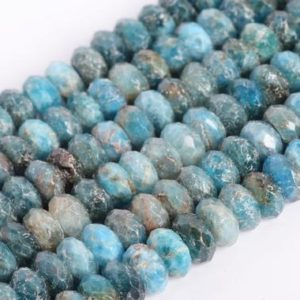 Shop Apatite Faceted Beads! Genuine Natural Blue Apatite Loose Beads Grade A Faceted Rondelle Shape 5-6x3mm 8x3mm | Natural genuine faceted Apatite beads for beading and jewelry making.  #jewelry #beads #beadedjewelry #diyjewelry #jewelrymaking #beadstore #beading #affiliate #ad