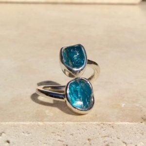 Shop Apatite Rings! Womens' Raw Gemstone Silver Ring, Double Blue Stone Adjustable Silver Stone Ring, Apatite Ring | Natural genuine Apatite rings, simple unique handcrafted gemstone rings. #rings #jewelry #shopping #gift #handmade #fashion #style #affiliate #ad