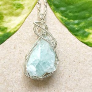 Raw Aquamarine Pendant- Wire Wrapped Pendant -Raw Stone Necklace-March Birthstone- Girlfriend Gift | Natural genuine Aquamarine pendants. Buy crystal jewelry, handmade handcrafted artisan jewelry for women.  Unique handmade gift ideas. #jewelry #beadedpendants #beadedjewelry #gift #shopping #handmadejewelry #fashion #style #product #pendants #affiliate #ad