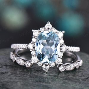 Cluster moissanite halo ring 2pc aquamarine engagement ring set white rose gold aquamarine ring vintage open gap diamond wedding ring band | Natural genuine Gemstone rings, simple unique alternative gemstone engagement rings. #rings #jewelry #bridal #wedding #jewelryaccessories #engagementrings #weddingideas #affiliate #ad