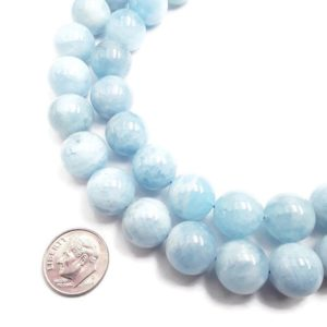 "Shop Aquamarine Round Beads! Natural Blue Aquamarine Smooth Round Beads 13.5mm 14.5mm 15.5"" Strand 