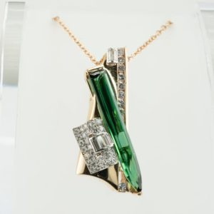 Shop Green Tourmaline Pendants! Art Deco Diamond Green Tourmaline Pendant, Vintage 14K Gold | Natural genuine Green Tourmaline pendants. Buy crystal jewelry, handmade handcrafted artisan jewelry for women.  Unique handmade gift ideas. #jewelry #beadedpendants #beadedjewelry #gift #shopping #handmadejewelry #fashion #style #product #pendants #affiliate #ad