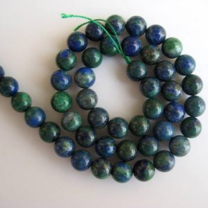 Shop Azurite Round Beads! Large Hole Gemstone beads, 8mm Azurite Malachite Smooth Round Mala Beads, Drill Size 1mm, 15 Inch Strand, GDS590 | Natural genuine round Azurite beads for beading and jewelry making.  #jewelry #beads #beadedjewelry #diyjewelry #jewelrymaking #beadstore #beading #affiliate #ad