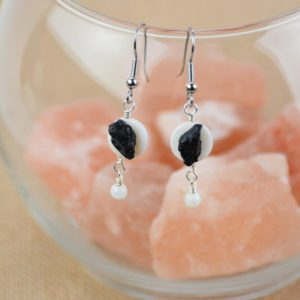 Shop Black Tourmaline Earrings! Black Tourmaline & Shell Earrings | Natural genuine Black Tourmaline earrings. Buy crystal jewelry, handmade handcrafted artisan jewelry for women.  Unique handmade gift ideas. #jewelry #beadedearrings #beadedjewelry #gift #shopping #handmadejewelry #fashion #style #product #earrings #affiliate #ad