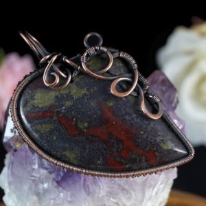 Shop Bloodstone Pendants! Oxidized copper wire pendant with Bloodstone gift for her gift for mom, wire wrapped, without chain, Heliotrope, Birthstone for March | Natural genuine Bloodstone pendants. Buy crystal jewelry, handmade handcrafted artisan jewelry for women.  Unique handmade gift ideas. #jewelry #beadedpendants #beadedjewelry #gift #shopping #handmadejewelry #fashion #style #product #pendants #affiliate #ad