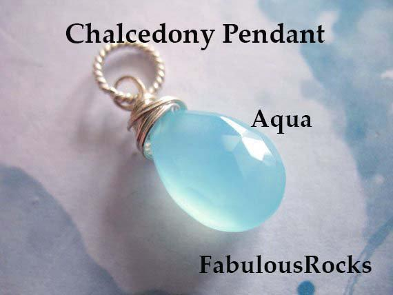 Aqua Blue Chalcedony Charm Pendant Add A Dangle Drop / Gift Under 10 For Her / 20-22 Mm, Gold Fill Or Sterling Silver /   Fdv1.v3 Solo Gd