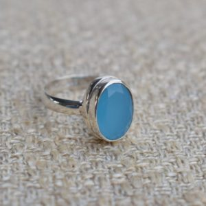 Shop Blue Chalcedony Rings! Natural Blue Chalcedony Ring-handmade Silver Ring-925 Sterling Silver Ring-oval Blue Chalcedony Ring-gift For Her-promise Ring | Natural genuine Blue Chalcedony rings, simple unique handcrafted gemstone rings. #rings #jewelry #shopping #gift #handmade #fashion #style #affiliate #ad
