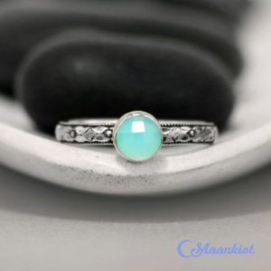 Shop Healing Gemstone Rings! Blue Chalcedony Promise Ring, Sterling Silver Blue Chalcedony Ring, Blue Silver Ring, May Birthstone | Moonkist Designs | Natural genuine Gemstone rings, simple unique handcrafted gemstone rings. #rings #jewelry #shopping #gift #handmade #fashion #style #affiliate #ad