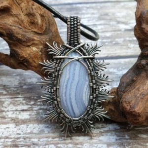 Shop Blue Lace Agate Pendants! Blue Lace Agate Pendant, Wire Wrapped Jewellery, Blue Stone Necklace | Natural genuine Blue Lace Agate pendants. Buy crystal jewelry, handmade handcrafted artisan jewelry for women.  Unique handmade gift ideas. #jewelry #beadedpendants #beadedjewelry #gift #shopping #handmadejewelry #fashion #style #product #pendants #affiliate #ad