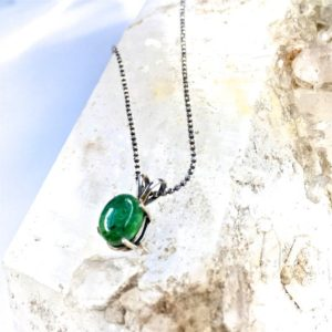 Shop Green Tourmaline Necklaces! Bright GREEN TOURMALINE Necklace on Sterling Silver chain-Delicate Gemstone Necklace-Green Mineral-Single drop Necklace-Lovely Gift for Her! | Natural genuine Green Tourmaline necklaces. Buy crystal jewelry, handmade handcrafted artisan jewelry for women.  Unique handmade gift ideas. #jewelry #beadednecklaces #beadedjewelry #gift #shopping #handmadejewelry #fashion #style #product #necklaces #affiliate #ad