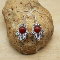 Hamsa Carnelian Earrings. Protection Symbol. July Birthstone. 17th Anniversary. Reiki Jewelry Uk. 8mm Gemstone. Boho Hippie Style | Natural genuine Gemstone jewelry. Buy crystal jewelry, handmade handcrafted artisan jewelry for women.  Unique handmade gift ideas. #jewelry #beadedjewelry #beadedjewelry #gift #shopping #handmadejewelry #fashion #style #product #jewelry #affiliate #ad