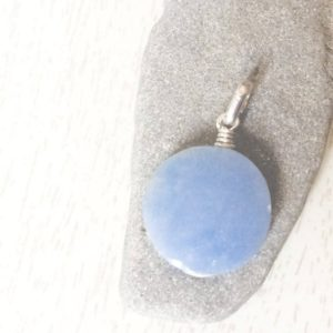 Shop Celestite Pendants! Celestite Silver pendant, natural Celestite pendant, Round bluestone, Stone and silver, Throat chakra, Celestite jewelry, Celestite pendant | Natural genuine Celestite pendants. Buy crystal jewelry, handmade handcrafted artisan jewelry for women.  Unique handmade gift ideas. #jewelry #beadedpendants #beadedjewelry #gift #shopping #handmadejewelry #fashion #style #product #pendants #affiliate #ad