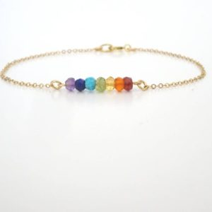 Shop Chakra Bracelets! Natural Gemstone Chakra Bracelet, Yoga Jewelry gift for Women, Seven Chakra Balance, Beaded Crystal Bracelet | Shop jewelry making and beading supplies, tools & findings for DIY jewelry making and crafts. #jewelrymaking #diyjewelry #jewelrycrafts #jewelrysupplies #beading #affiliate #ad