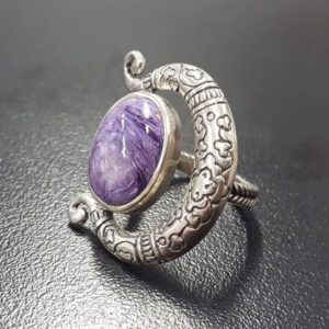 Shop Charoite Rings! Charoite Ring, Natural Charoite, Purple Ring, Tribal Ring, Gemini Birthstone, Vintage Purple Ring, Large Stone Ring, Silver Ring, Charoite | Natural genuine Charoite rings, simple unique handcrafted gemstone rings. #rings #jewelry #shopping #gift #handmade #fashion #style #affiliate #ad