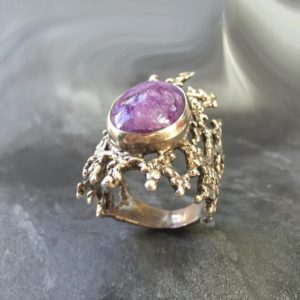 Shop Charoite Jewelry! Charoite Ring, Scorpio Ring, Natural Charoite, Scorpio Birthstone, Healing Stones, Purple Ring, Unique Ring, Vintage Ring, Solid Silver Ring | Natural genuine Charoite jewelry. Buy crystal jewelry, handmade handcrafted artisan jewelry for women.  Unique handmade gift ideas. #jewelry #beadedjewelry #beadedjewelry #gift #shopping #handmadejewelry #fashion #style #product #jewelry #affiliate #ad
