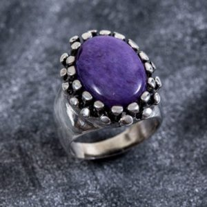 Shop Charoite Rings! Statement Ring, Purple Charoite Ring, Natural Charoite, Purple Ring, Vintage Ring, Scorpio Birthstone, Artistic Ring, Solid Silver, Charoite   Natural genuine Charoite rings, simple unique handcrafted gemstone rings. #rings #jewelry #shopping #gift #handmade #fashion #style #affiliate #ad