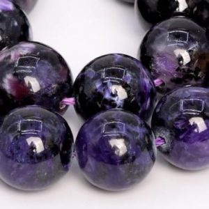 Shop Charoite Round Beads! 13 Pcs – 14MM Dark Color Charoite Beads Russia Grade A Genuine Natural Round Gemstone Loose Beads (108990) | Natural genuine round Charoite beads for beading and jewelry making.  #jewelry #beads #beadedjewelry #diyjewelry #jewelrymaking #beadstore #beading #affiliate #ad