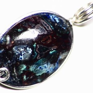 Chrysocolla Pendant, Silicified Chrysocolla Necklace Cuprite Cabochon Jewelry, Sterling Silver Wire Wrap, Blue and Red Chalcedony Gemstone | Natural genuine Chrysocolla pendants. Buy crystal jewelry, handmade handcrafted artisan jewelry for women.  Unique handmade gift ideas. #jewelry #beadedpendants #beadedjewelry #gift #shopping #handmadejewelry #fashion #style #product #pendants #affiliate #ad