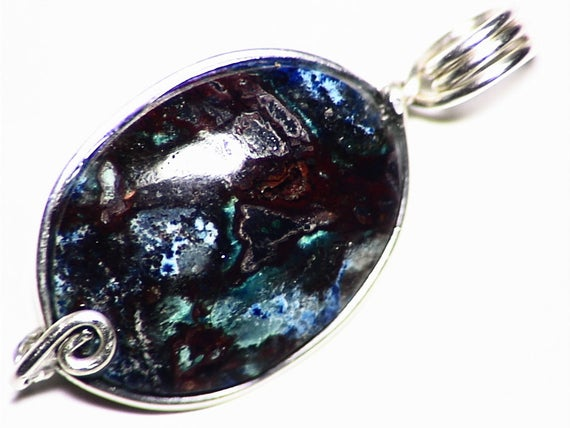 Chrysocolla Pendant, Silicified Chrysocolla Necklace Cuprite Cabochon Jewelry, Sterling Silver Wire Wrap, Blue And Red Chalcedony Gemstone