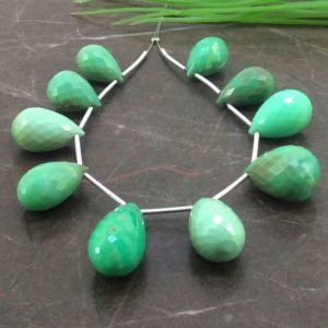 Shop Chrysoprase Bead Shapes! Natural Chrysoprase 14.5-25mm Faceted Drops Gemstone Bead / Approx 10 Pieces on 5 Inch Long Strand / JBC-ET-154151 | Natural genuine other-shape Chrysoprase beads for beading and jewelry making.  #jewelry #beads #beadedjewelry #diyjewelry #jewelrymaking #beadstore #beading #affiliate #ad