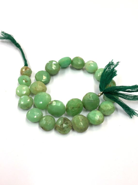 "Natural Faceted Chrysoprase Coin Shape Beads 13-14mm Gemstone Beads 11"" Strand"