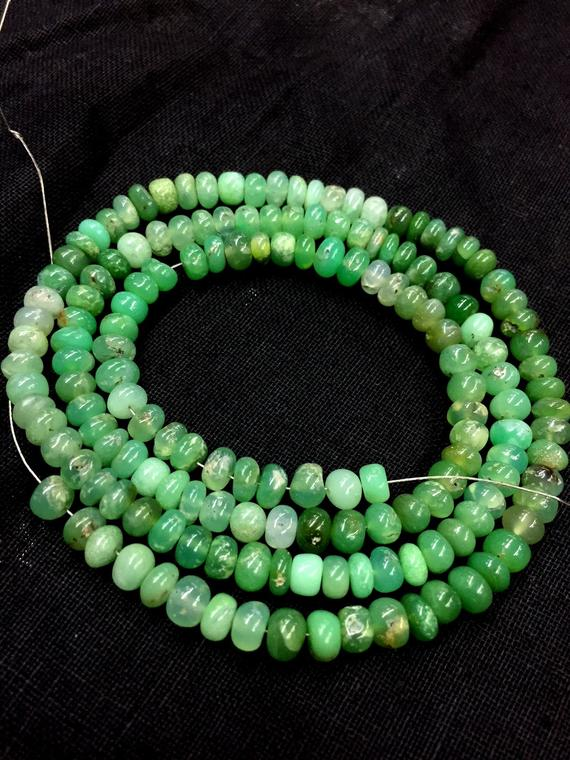 Natural Chrysoprase Smooth Rondelle Beads 5mm Chrysoprase Gemstone Beads 19 Inch Strand Plain Rondelle Beads