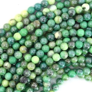 "Shop Chrysoprase Beads! Mystic Titanium Green Chrysoprase Round Beads 15.5"" Strand 4mm 6mm 8mm 10mm 12mm 