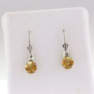 Citrine Earrings, Custom White Gold Citrine Dangle Earrings, Handmade Citrine Leverback Earrings | Natural genuine Gemstone earrings. Buy crystal jewelry, handmade handcrafted artisan jewelry for women.  Unique handmade gift ideas. #jewelry #beadedearrings #beadedjewelry #gift #shopping #handmadejewelry #fashion #style #product #earrings #affiliate #ad
