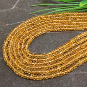 Shop Citrine Faceted Beads! Wholesale! Natural Citrine 4-4.5mm Micro Faceted Rondelle Gemstone Beads / Approx 130 Pieces On 14 Inch Long Strand / Jbc-et-139093 | Natural genuine faceted Citrine beads for beading and jewelry making.  #jewelry #beads #beadedjewelry #diyjewelry #jewelrymaking #beadstore #beading #affiliate #ad