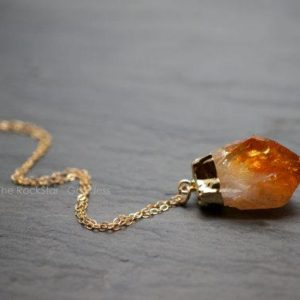 Gold Citrine Necklace / Raw Citrine Necklace / Gold Citrine Crystal Necklace / Raw Crystal Necklace / November Birthstone | Natural genuine Array jewelry. Buy crystal jewelry, handmade handcrafted artisan jewelry for women.  Unique handmade gift ideas. #jewelry #beadedjewelry #beadedjewelry #gift #shopping #handmadejewelry #fashion #style #product #jewelry #affiliate #ad