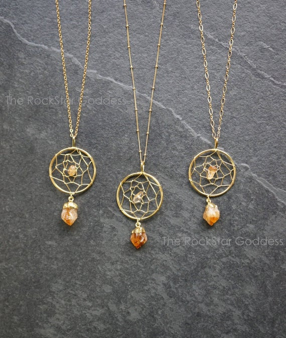 Raw Citrine Necklace / Boho Jewelry / Gold Citrine Necklace / Dreamcatcher Necklace  / Dream Catcher Necklace / November Birthstone